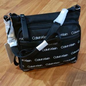 Calvin Klein Lane Nylon Crossbody Bag, Black.